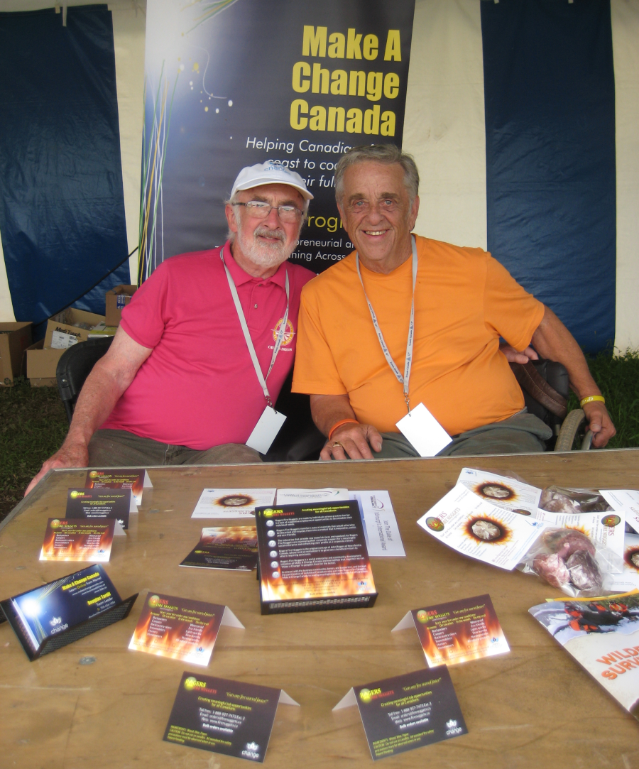 Pictured in our trade show booth at the Scouts Canada National Jamboree are Doug Tardif, Make A Change Canada Team Leader, and John Rogers, Inventor of Rogers Fire Nuggets.